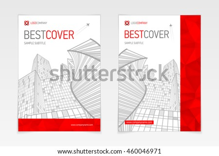 Cover booklet business and architecture, modern design, red and grey, vector sample design