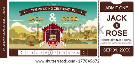Cover bridge wedding invitation ticket template vector/illustrator