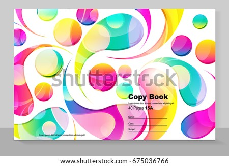 Cover copybook with abstract arc drops background, vector design.