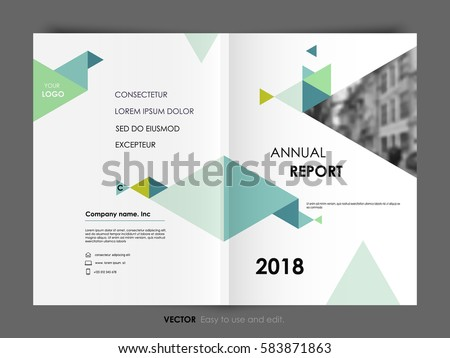 Cover Design Annual Report, Vector Template Brochure, Flayer, Presentation, Leaflet, Magazine. Green and blue polygons on a white background.