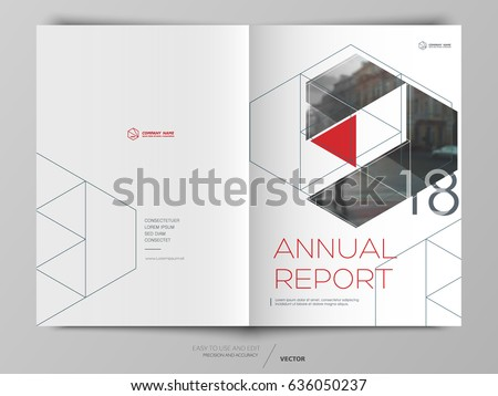 Cover design annual report,vector template brochures, flyers, presentations, leaflet, magazine a4 size. White with red abstract background