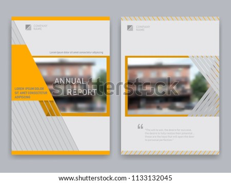 Cover design in A4 format. Can be applied to brochures for vector templates, advertising leaflets, corporate presentations, magazines, banners. White with gray and orange abstract background ストックフォト ©