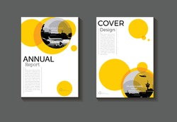 cover design modern book abstract Circle yellow background modern Brochure cover  template,annual report, magazine and flyer layout Vector a4
