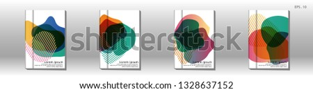 Cover design of the book is arranged with colorful gradients that are liquid and transparent. Creative illustrations for posters, web, landings, pages, covers, advertisements, and others #1328637152