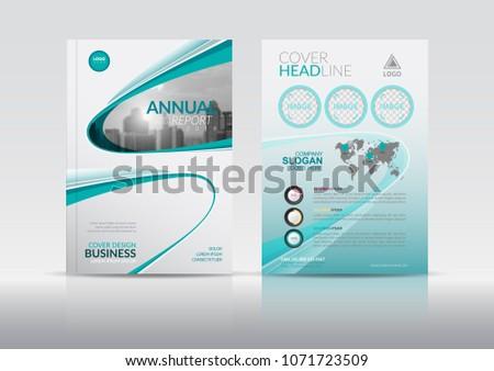 green geometric bi fold business brochure design template - Download ...