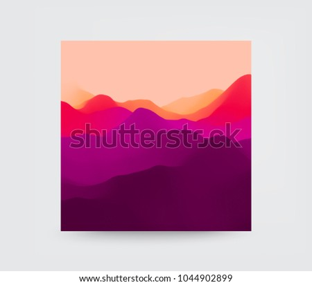 Cover design template. Mountain landscape. Mountainous terrain. Vector illustration. Abstract background.