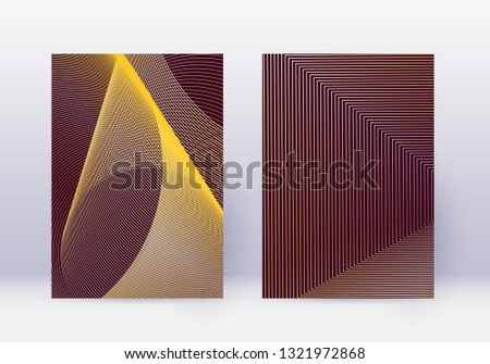 Cover design template set. Abstract lines modern brochure layout. Gold vibrant halftone gradients on maroon background. Amazing brochure, catalog, poster, book etc.