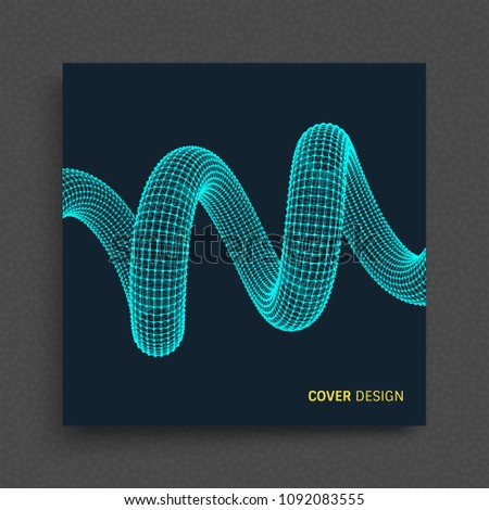 Cover design template. Spiral. Connection Structure. Abstract grid design. 3d vector illustration for science, technology.