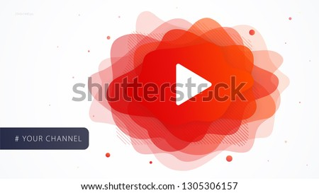 Cover design template video channel for web page your blog. Futuristic shape abstract liquid of play button for advertising social media. Modern vector illustration concept