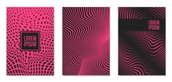Cover Design Templates Set with Effect of Optical Illusion in Pink and Black Colors. Abstract Backgrounds with Distortion of Geometric Shapes. Trendy Covers with Text and Gradient for Magazine, Book.
