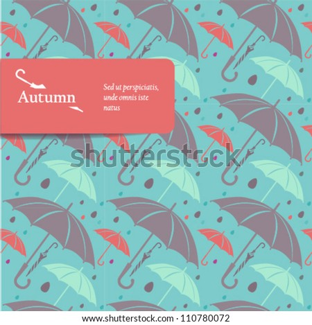 Cover design. Vector seamless background with umbrellas. - stock vector