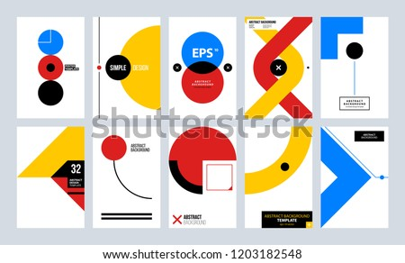Cover designs with abstract geometry. Minimal shape compositions. Applicable for posters, prints, placards, flyers and web layouts.