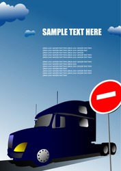Cover for brochure with lorry image and no entry traffic sign. 3d