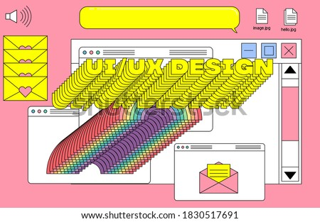 Cover for UI and UX web design theme with collage of user interface elements and typographic composition. Vaporwave aesthetics of 80's-90's.