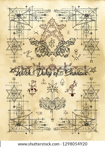 Cover for Witch diary of shadows with sacred geometry and esoteric symbols and signs. Magic wiccan old book with occult illustration, mystic vector background