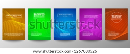Cover geometric minimal. Set. Vector abstract line pattern for poster design. Set of templates for business brochures. Cool gradients. Graphic pattern for annual album backdrop. #1267080526