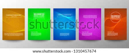 Cover geometric minimal. Set. Vector abstract line pattern for poster design. Set of templates for business brochures. Cool gradients. Graphic pattern for annual album backdrop. #1310457674