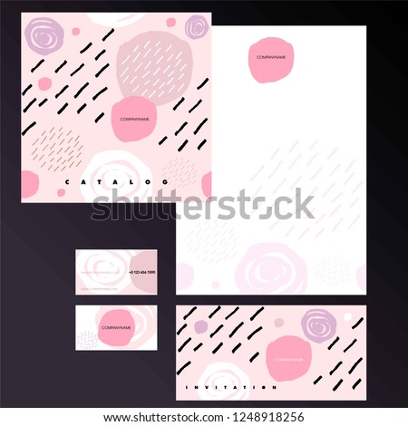 Cover of catalog, invitation, corporate card and blank A4. Corporate Identity for beauty industry, fashion.  #1248918256