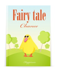Cover of Fairy tale book. Vector illustration of little duckling in forest