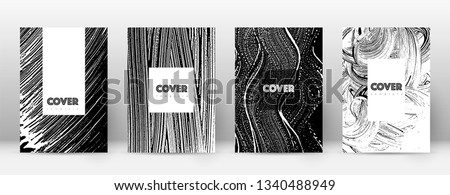 Cover page design template. Hipster brochure layout. Breathtaking trendy abstract cover page. Black and white grunge texture background. Radiant poster.