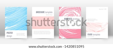Cover page design template. Minimalistic brochure layout. Classic trendy abstract cover page. Pink and blue grunge texture background. Valuable poster.