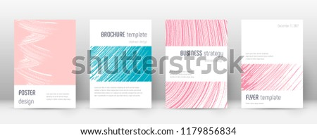 Cover page design template. Minimalistic brochure layout. Classy trendy abstract cover page. Pink and blue grunge texture background. Amazing poster.