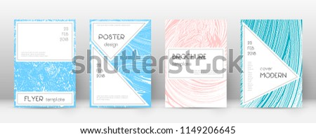 Cover page design template. Stylish brochure layout. Charming trendy abstract cover page. Pink and blue grunge texture background. Amazing poster.
