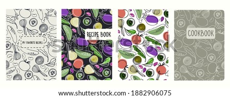 Cover page vector templates for recipe books based on seamless patterns with hand drawn vegetables. Cookery books cover layout. Healthy food, vegan food concept Stock photo ©