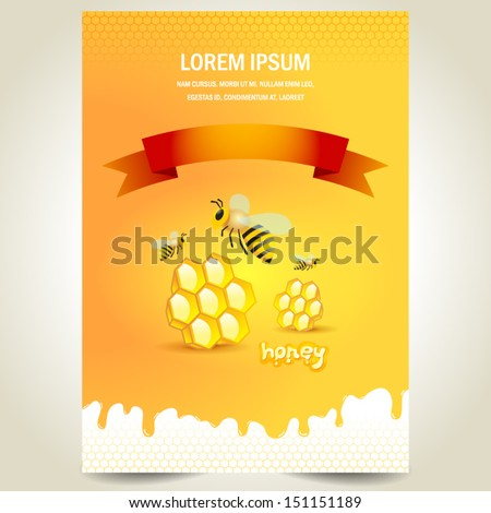 cover poster face honey mead bee honeycomb white yellow background