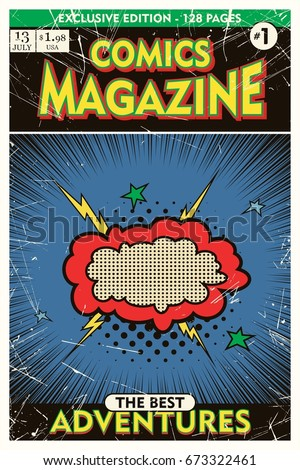 Cover template. Comic book vintage. Vector illustration