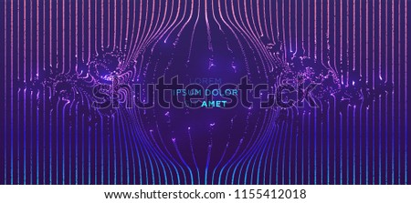 Cover template with glowing particles liquid dynamic flow. Trendy fluid design. Eps10 vector illustration