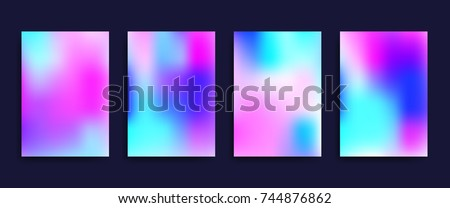 Cover templates with holographic effect. Vector hologram backgrounds for flyers, banners, brochure, placard, poster, card design. Fluid colors neon vector templates