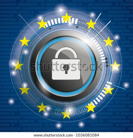 Cover with Bits, DLock, EU-Flag for the General Data Protection Regulation. Eps 10 vector file.