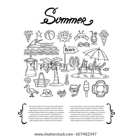 Cover with hand drawn isolated symbols of summer on white background. Set on the theme of sea, beach, travel and recreation. Vector background for use in design
