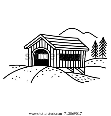 Covered bridge line art illustration. Traditional American country bridge, black and white drawing.