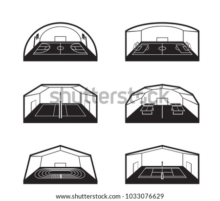 Covered sports facilities - vector illustration