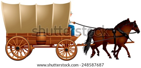 Covered Wagon, horse-drawn Western Wagon Train with the coach and two horses realistic vector illustration