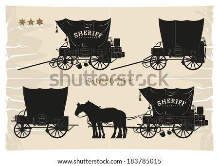 Covered wagons cowboy sheriff, vector