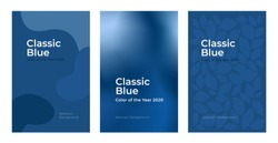 Covers design in color of the year classic blue. Set of backgrounds in trendy palette swatch. Poster templates with liquid color, geometric shape, floral pattern. Vector illustration for banner, flyer