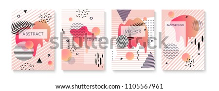 Covers set with fluid shapes, memphis and glitch elements. Vector template for placards, banners, flyers and presentations. EPS 10 illustration.