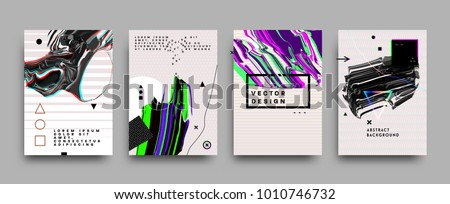 Covers templates set with bauhaus, memphis and hipster style graphic geometric and glitch elements. Applicable for placards, brochures, posters, covers and banners. Vector illustrations.