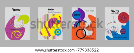 Covers templates set with bauhaus, memphis and hipster style graphic geometric elements. Applicable for placards, brochures, posters, covers and banners. #779338522