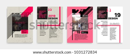 Covers templates set with bauhaus style graphic geometric elements. Applicable for flyer, cover annual report, placards, brochures, posters, banners. Vector illustrations.
