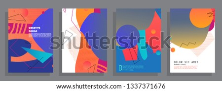 Covers templates set with graphic geometric elements. Applicable for brochures, posters, covers and banners. Vector illustrations. #1337371676