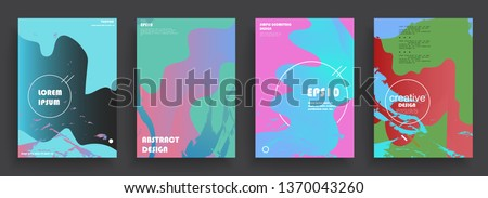 Covers templates set with graphic geometric elements. Applicable for brochures, posters, covers and banners. Vector illustrations. #1370043260