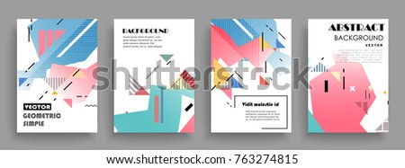 Covers templates set with graphic geometric elements. Applicable for brochures, posters, covers and banners. Vector illustrations. #763274815