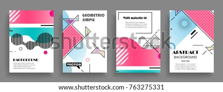 Covers templates set with graphic geometric elements. Applicable for brochures, posters, covers and banners. Vector illustrations. #763275331