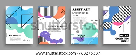 Covers templates set with graphic geometric elements. Applicable for brochures, posters, covers and banners. Vector illustrations. #763275337