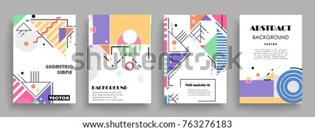 Covers templates set with graphic geometric elements. Applicable for brochures, posters, covers and banners. Vector illustrations. #763276183