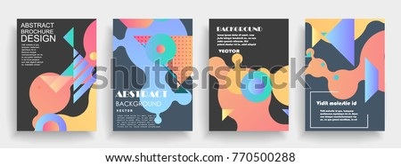 Covers templates set with graphic geometric elements. Applicable for brochures, posters, covers and banners. Vector illustrations. - Shutterstock ID 770500288